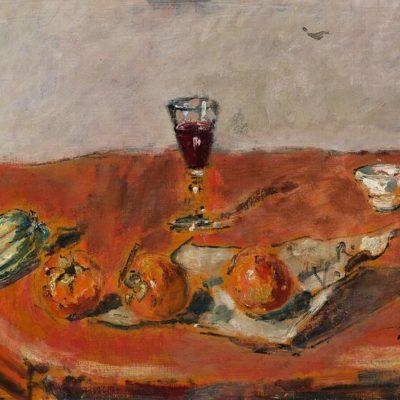 Filippo de Pisis Natura morta con tovaglia rossa e bicchiere Amedeo Porro Fine Arts
